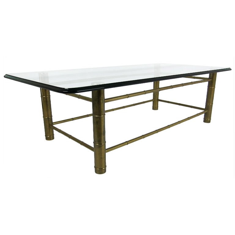Brass Faux Bamboo Coffee Table: Mastercraft Brass Faux Bamboo Coffee Table