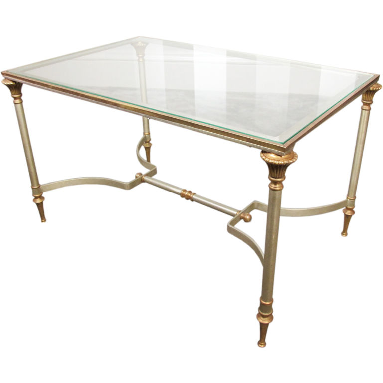 Maison Jansen Brass And Steel Coffee Table