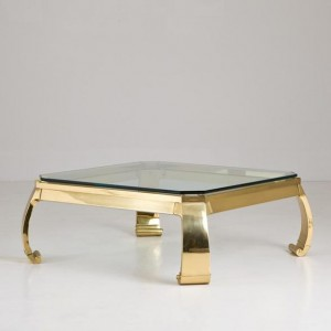 Karl Springer Designed Asian-Modern Brass Coffee Table