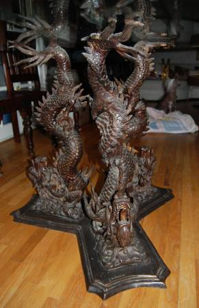 Bronze Chinese Dragon Dining Table