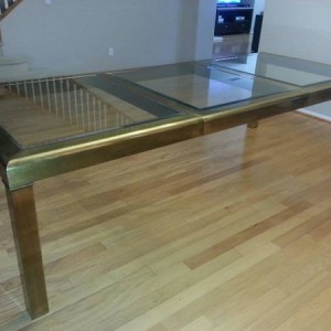 Mastercraft Brass Dining Table in Parsons Style