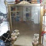 Victorian Brass Mirror with Oil Lamps