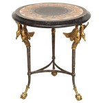 maitland smith brass and stone swan side table