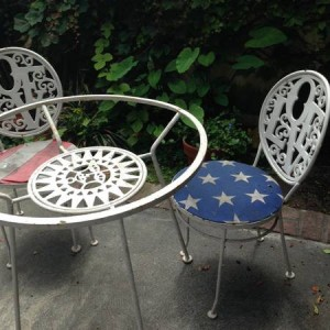 Arthur Umanoff LOVE Chair & Mayan Sun Patio Table Set
