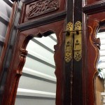 0Asian Carved Wood Mirrored Armoire