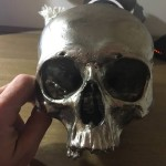 0Blackman Cruz Nickel Plated Bronze Skull Sculpture
