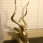 Brass Kudu Bust Sculpture