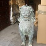 "Amazing and rare 48"" high bronze Singha statues transported from Thailand"