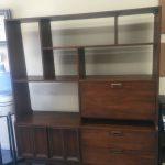Vintage solid walnut wood mid-century room divider/hutch