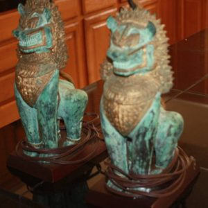 Bronze Singha Foo Dog Lamps (Pair)